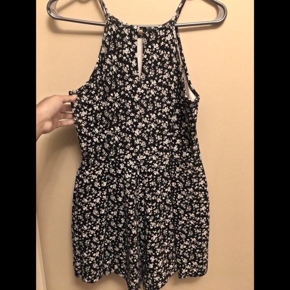GARAGE black and white floral dress romper